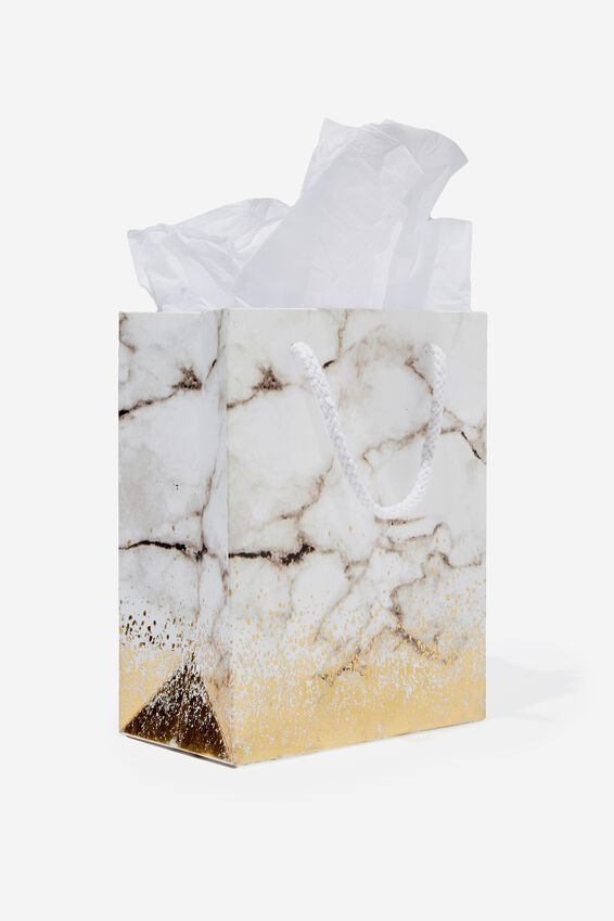 Small Gift Bag with Tissue Paper, GOLD MARBLE