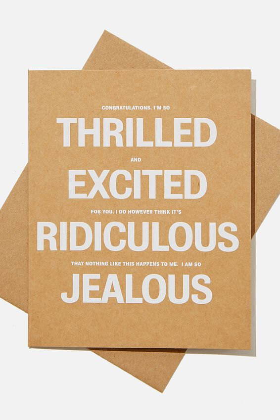 Congratulations Card, THRILLED EXCITED RIDICULOUS JEALOUS