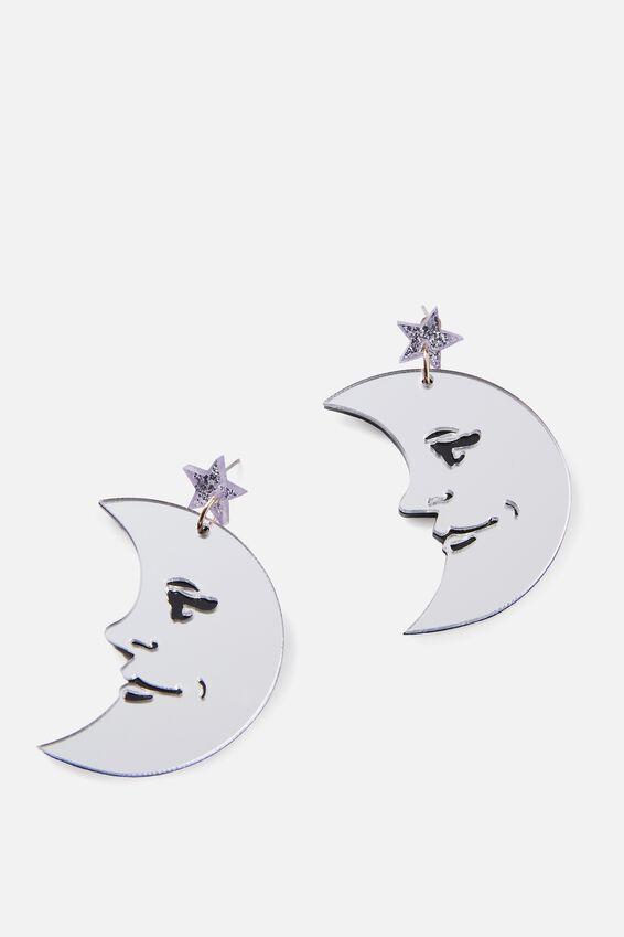 Premium Novelty Earrings, MOON FACE