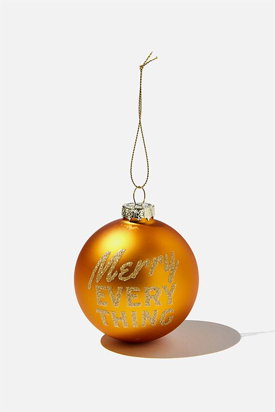 Small Glass Christmas Ornament, BAUBLE MERRY EVERYTHING