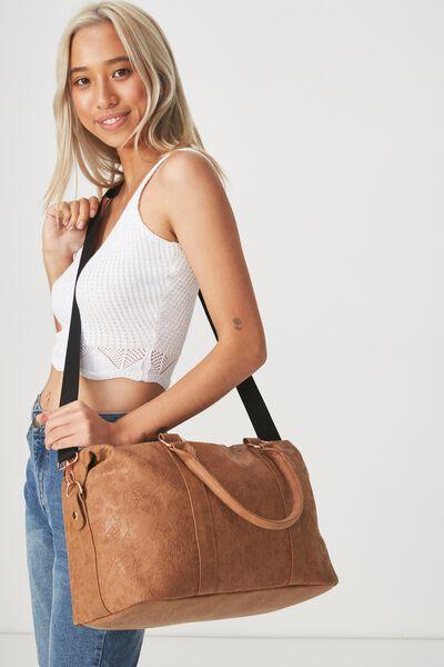 Weekend Away Duffel Bag, BUTTERFLY TOOLED MID TAN