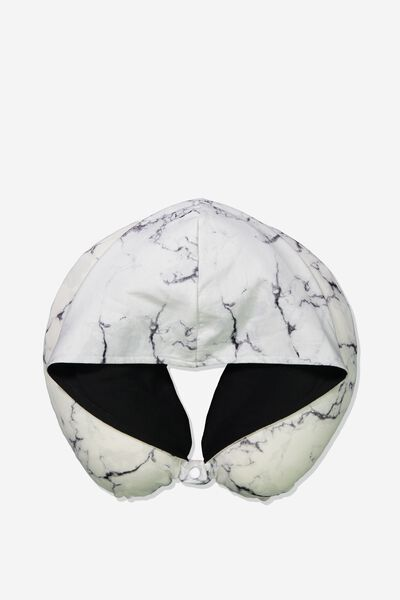 Travel Neck Pillow with Hood, WHITE MARBLE WITH BLACK LINING