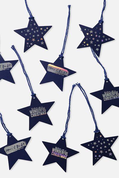 Gift Tag 9 Pack, IRIDESCENT STARS
