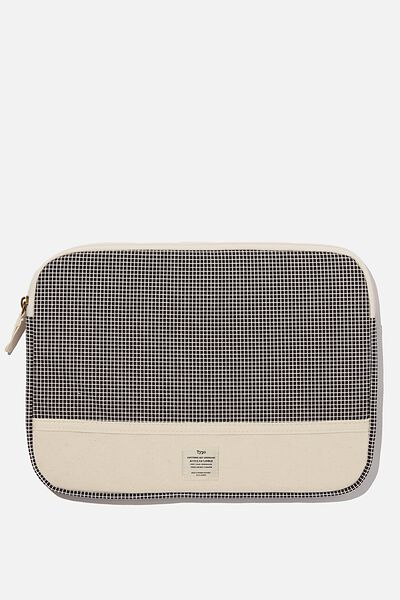 Canvas 13 Inch Laptop Case, BLACK GRID CHECK 2.0