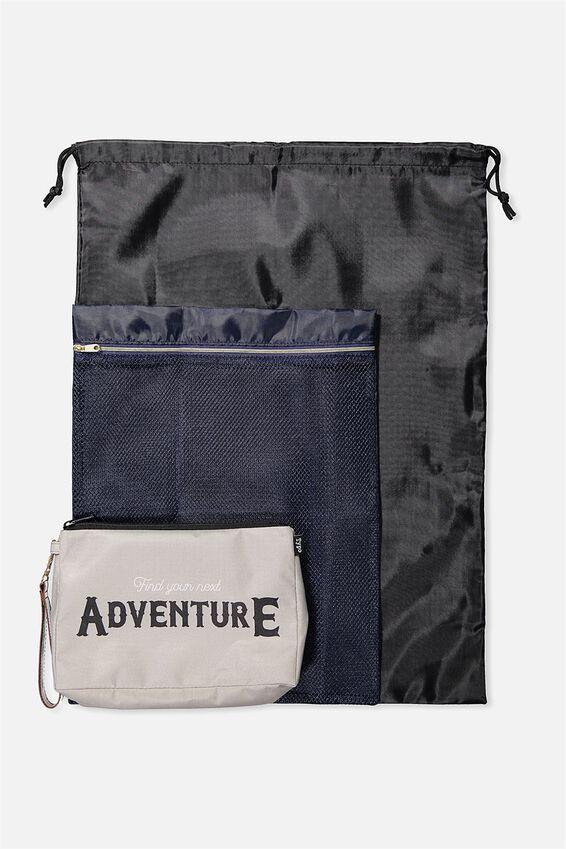 3 Pc Travel Organiser Bags, GREY ADVENTURE
