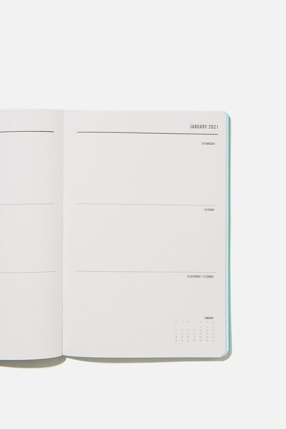2021 Soft A5 Weekly Buffalo Diary, DUSTY TURQUOISE