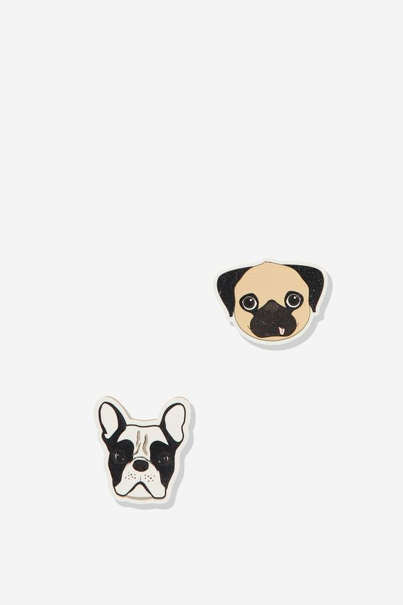 Novelty Eraser Pack, FRENCHIE PUG HEADS