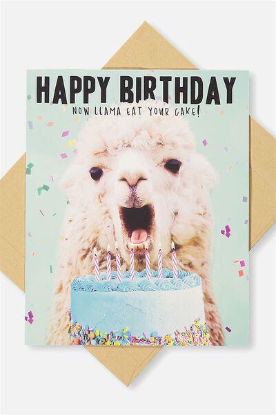 Funny Birthday Card LLAMA CAKE
