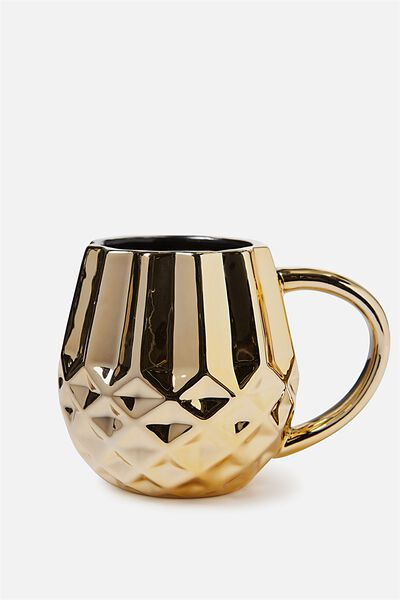 Novelty Shaped Mug, GOLD GEO