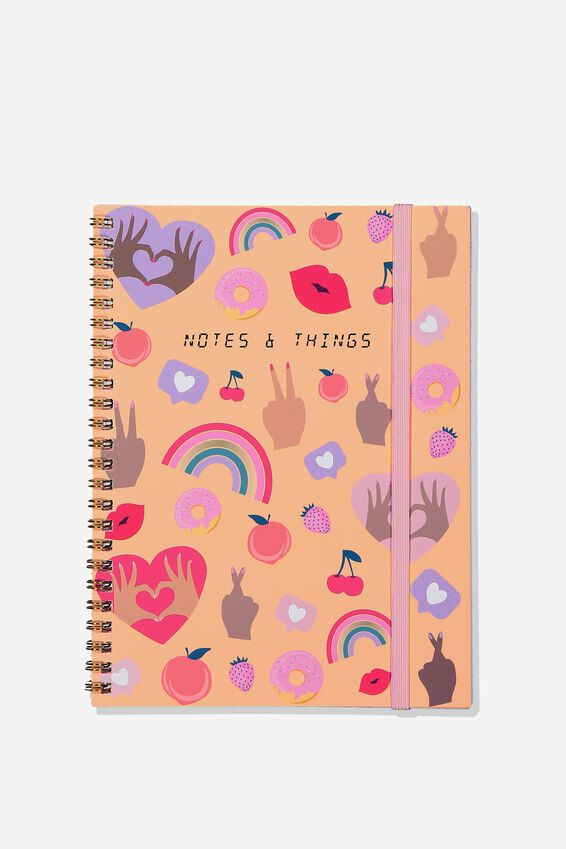 A5 Spinout Notebook Grid Internal, PINK HANDS UP NOTE THINGS
