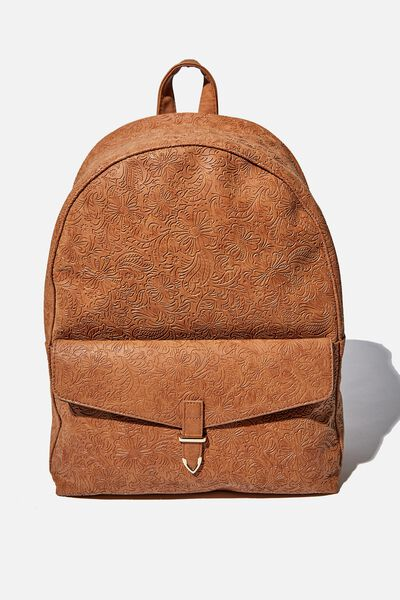 Scholar Backpack, MID TAN WESTERN TOOLED