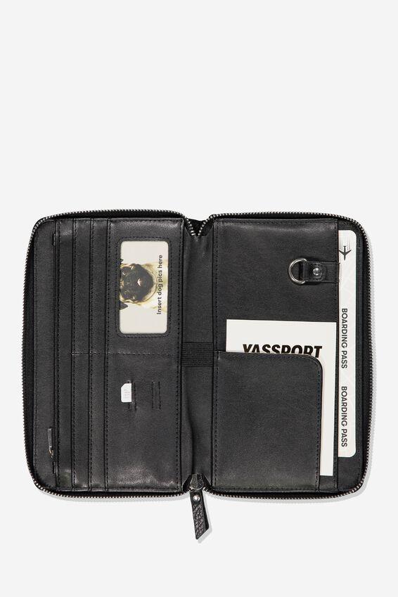 Rfid Odyssey Travel Compendium Wallet, BLACK W STAR DETAIL