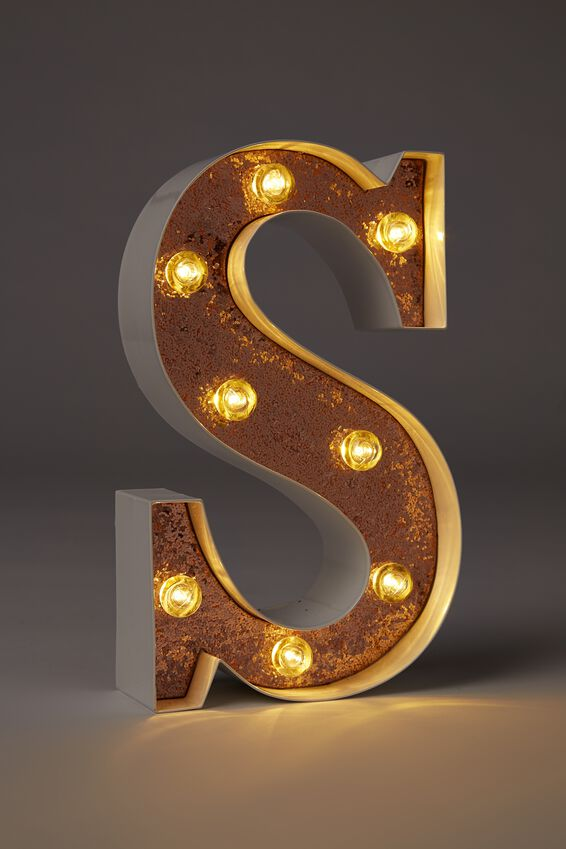 Small Marquee Letter Lights 23cm, WHITE WITH ROSE GOLD GLITTER S