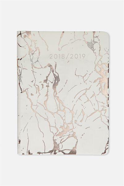 Hidden Spiral Planner 2018 19, WHITE & ROSE GOLD MARBLE