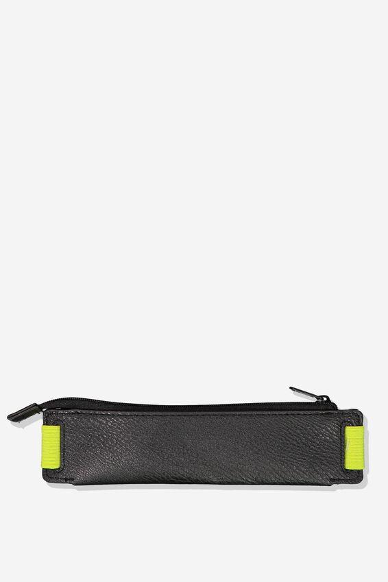 Notebook Pencil Case, BLACK WITH NEON ELASTIC