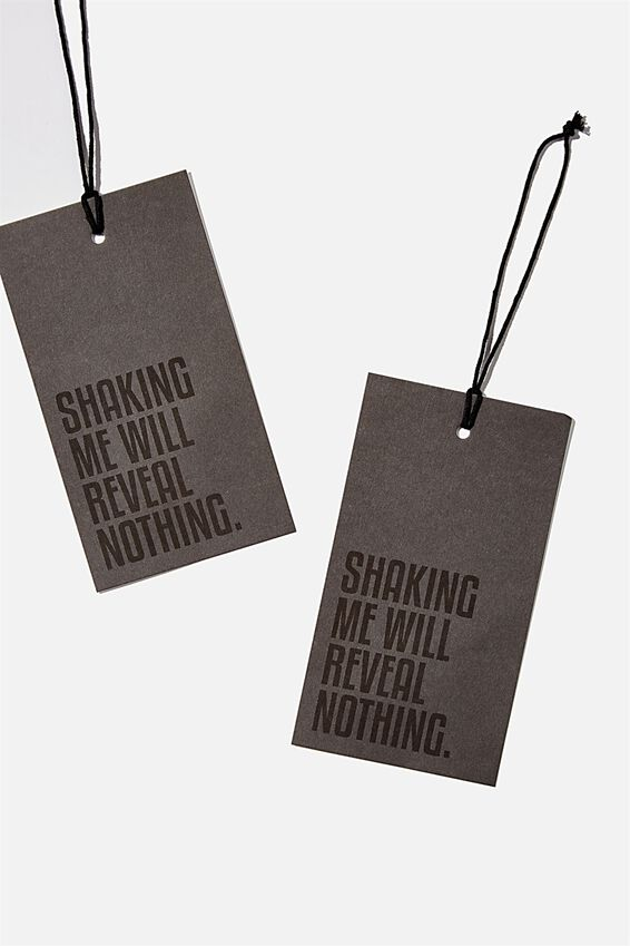 Jumbo Gift Tag Pack, SHAKING ME WILL REVEAL NOTHING BLACK