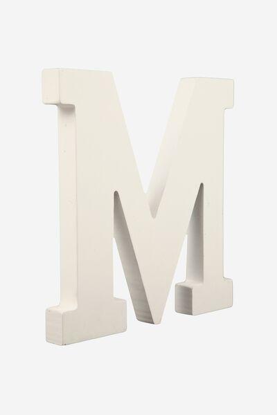 Letterpress Wooden Letter, WHITE M