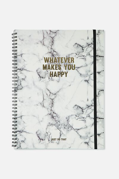 A4 Spinout Notebook - 120 Pages, MARBLE HAPPY