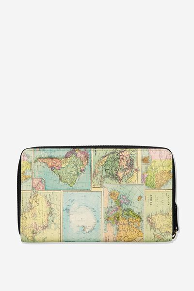 Rfid Odyssey Travel Compendium Wallet, WORLD MAP PRINT