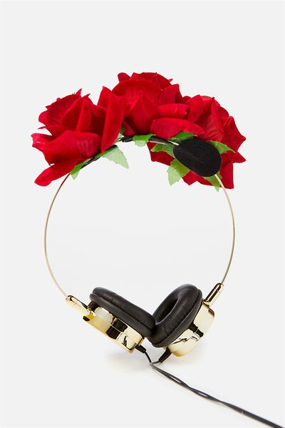 Novelty Headphones, RED ROSE