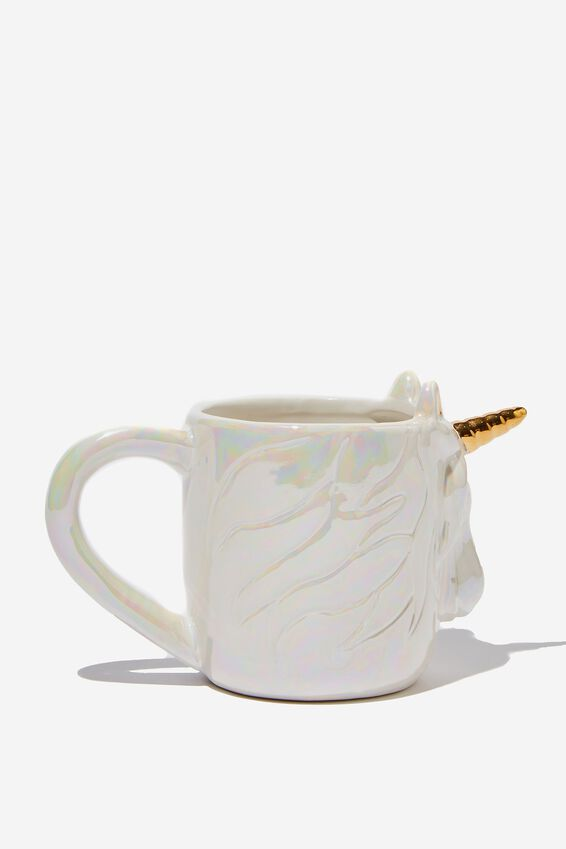 Novelty Shaped Mug, ETCHED UNICORN
