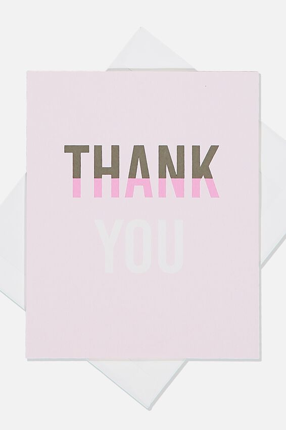 Thank You Card, PINK SPLICE TEXT