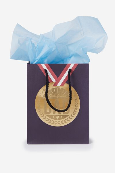Stuff It Gift Bag Small With Tissue Paper, MEDAL