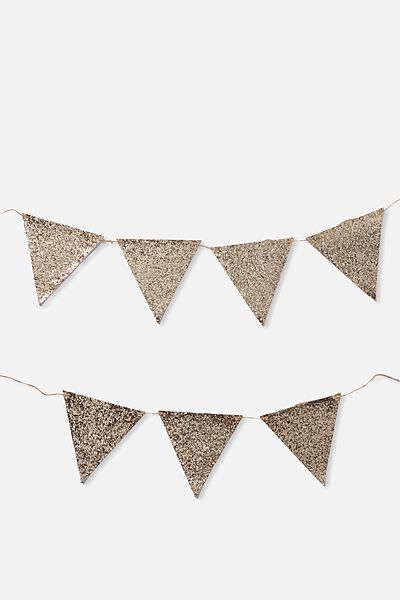 Diy Fabric Bunting, GOLD GLITTER