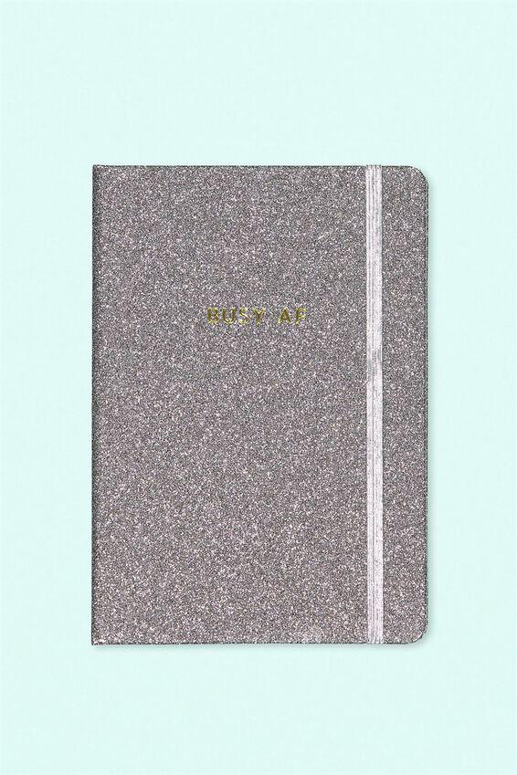 Personalised A5 Buffalo Journal, GREY GLITTER