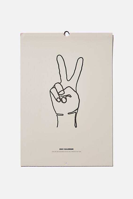 2021 A3 Art Series Calendar, HAND SIGNS