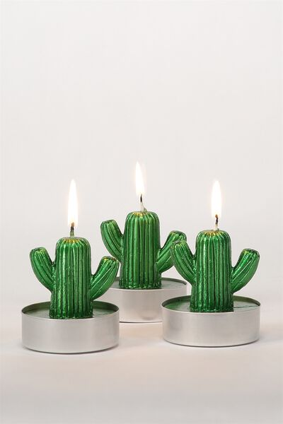 Set Of 3 Tea Light Candles, CACTUS