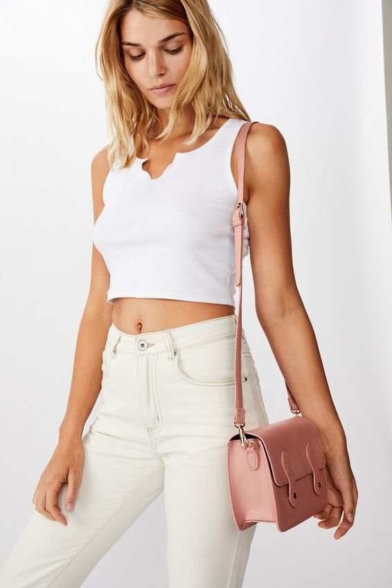 Mini Buffalo Satchel Bag, DUSTY ROSE