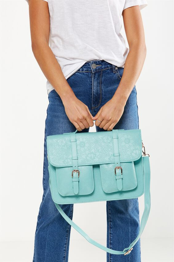On Duty Satchel Bag, BLUE FLORAL EMBOSSED