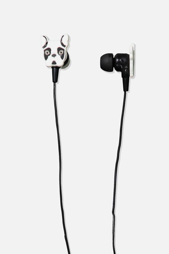 Novelty Earphones, WHITE FRENCH BULLDOG