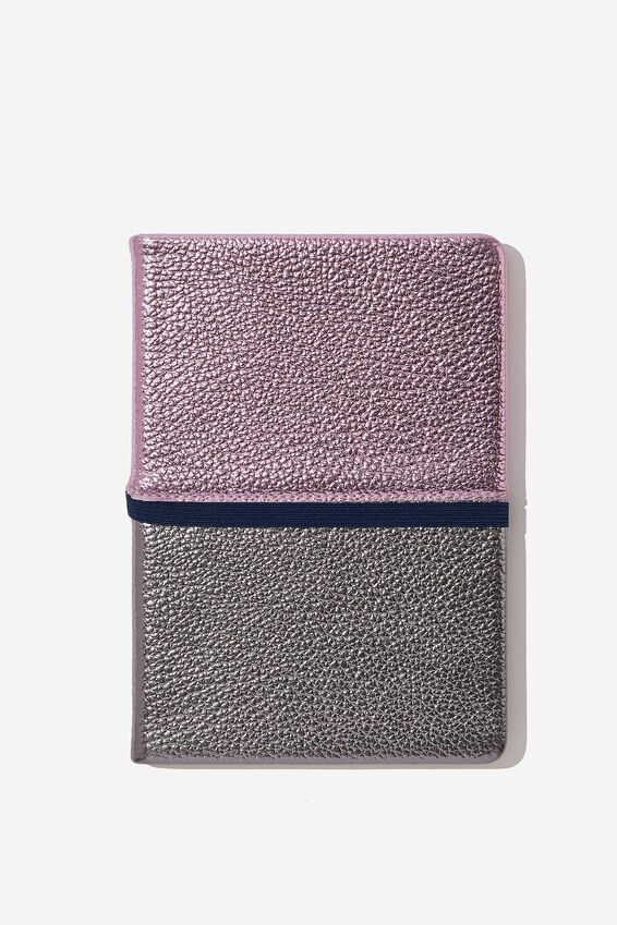 A5 Note Taker Dot Journal, PURPLE AND SILVER