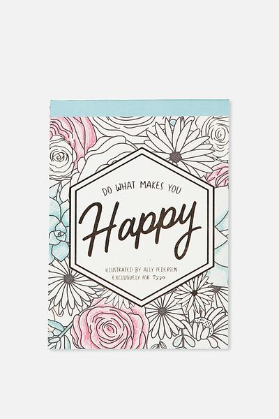 Post Card Colouring Book, FLORAL HAPPY