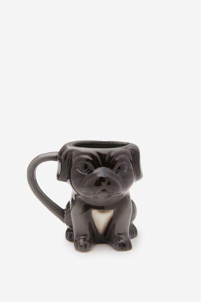Novelty Shaped Mug, GREY SITTING PUG