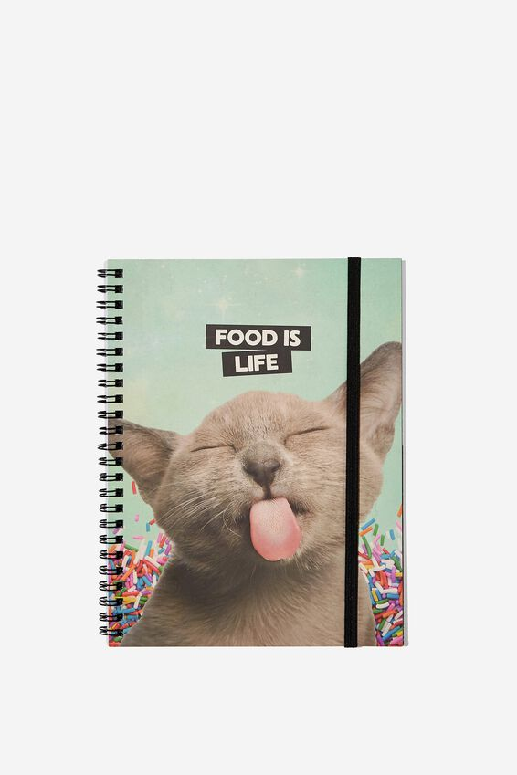 A5 Spinout Notebook Dot Page, CAT FOOD IS LIFE