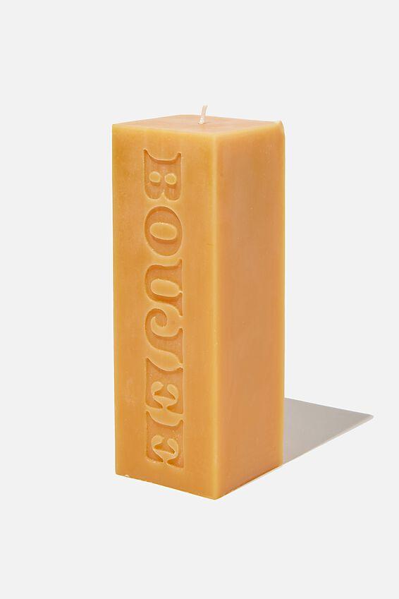 Pillar Block Candle, BOUJEE MUSTARD