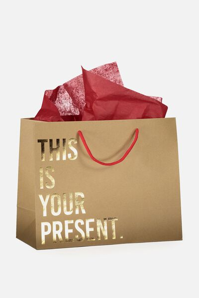 Medium Gift Bag with Tissue Paper, THIS IS YOUR PRESENT GOLD & RED