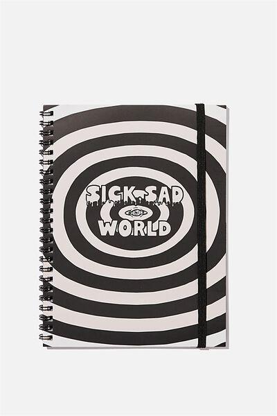 A5 Spinout Notebook Recycled, LCN MTV DA SICK SAD WORLD
