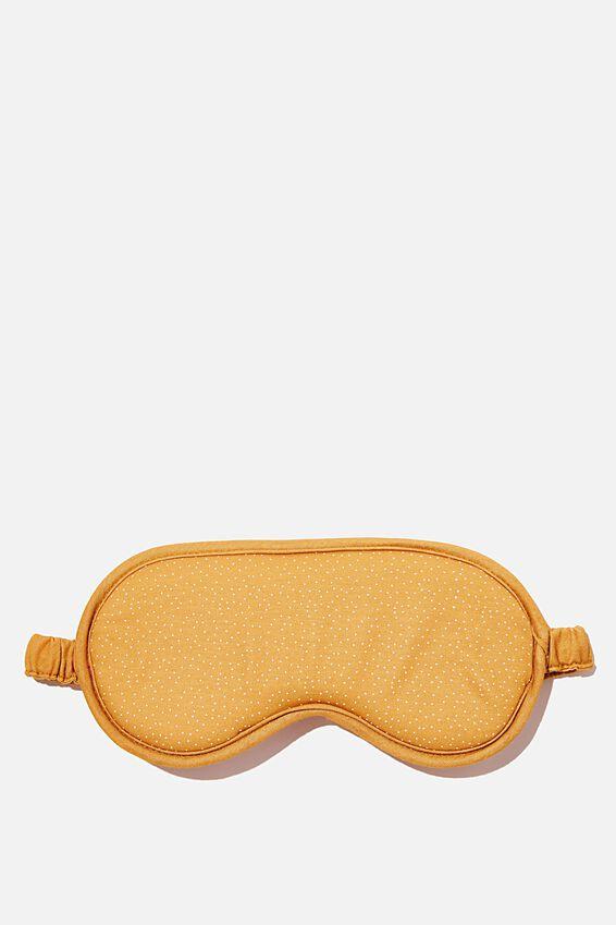Premium Eyemask, MUSTARD MICRO SPOT W BORDER