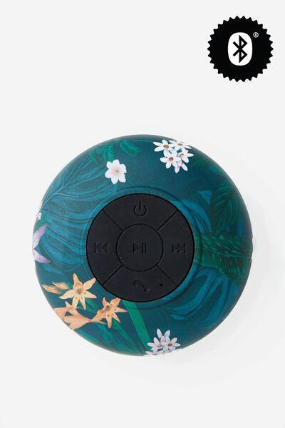 Waterproof Bluetooth Shower Speaker, JUNGLE FLORAL