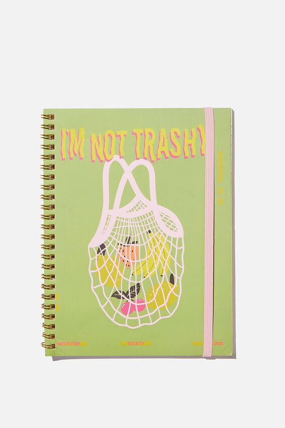 A5 Spinout Notebook Recycled, IM NOT TRASHY