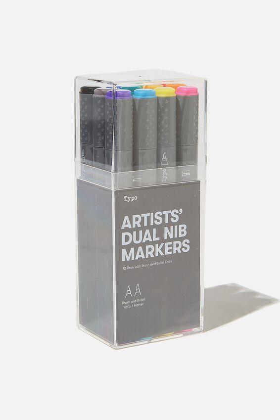 Artists Dual Nib Marker 12Pk, BRIGHTS BRUSH