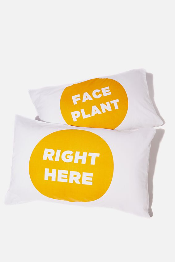Novelty Pillow Cases Set Of 2, FACE PLANT