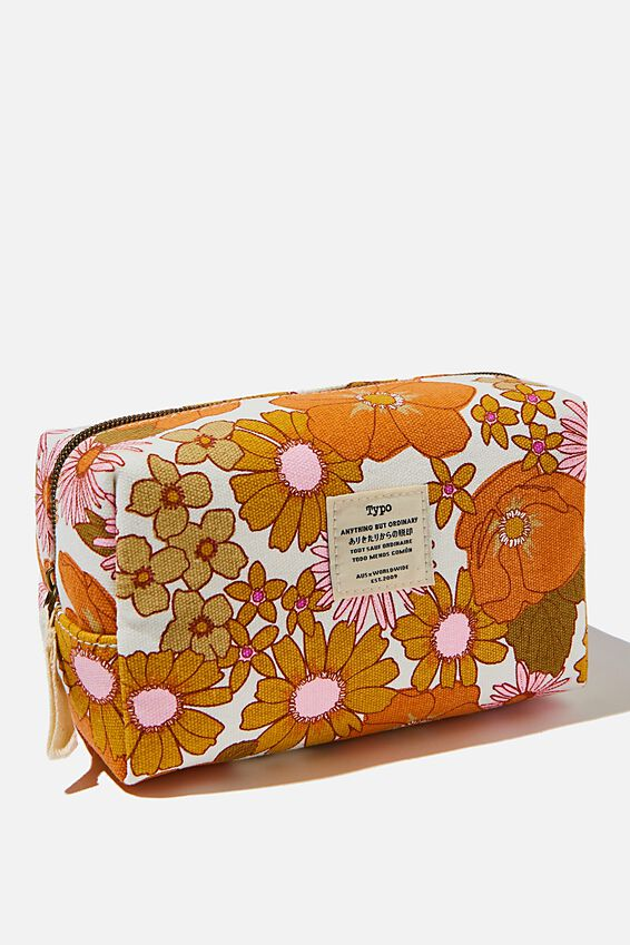 Brooklyn Pencil Case, ORANGE AND PINK STEVIE FLORAL