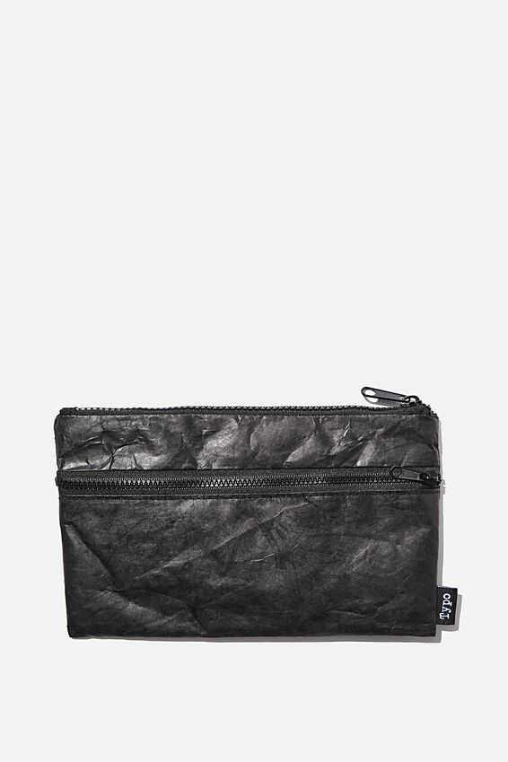 Archer Pencil Case, BLACK CRINKLED