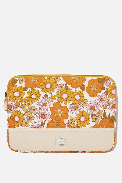 Canvas 13 Inch Laptop Case, STEVIE FLORAL ORANGE & PINK WITH RAW CANVAS S