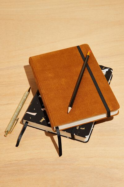 A5 Fabric Undated Weekly Diary, TAN CORD